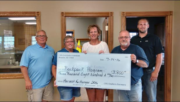 "A $3,800 donation was given to the BackPack Program from CHS Eastern Farmers' ""Food"" fundraiser. Pictured from left are Tom Nelson, Darcy Raddle, Luverne Elementary School Child Guide Lisa Dinger, Carl Gehrke and Josh Hansen."
