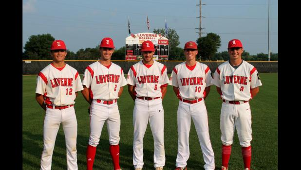 LHS baseball award winners include (from left) Braydon Ripka, Bailey Cowell, Casey Sehr, Ethan Beyer and Cade Wenninger. Missing is Connor Connell.