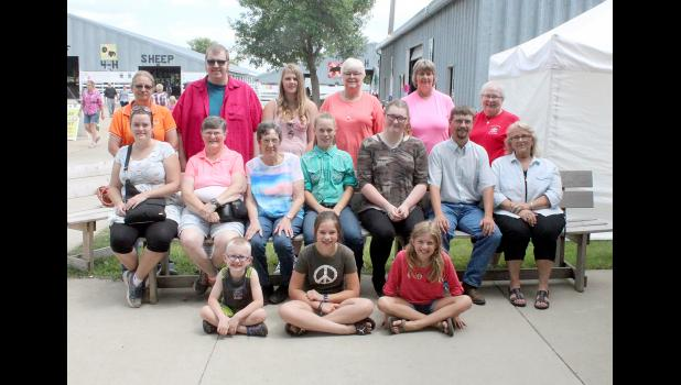 Grand and reserve grand champion winners in the Rock County Fair Open Class competition on hand for a photo Friday afternoon include (front, from left) Jase Van De Berg, Austyn Pap, Ava Steinhoff, (second row) Katie Walgrave, Marcia Essman, Jane Wellington, Ashlee Overvaag, Kaitlyn McDowell, Eric Fick, Dorral Kramer Guzman, (back) Cindy Reverts, John Baustian, Sarah Essman, Carol Goehle, Barb Sandbulte and Sharon Zinnel.