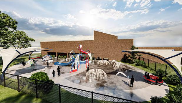 Construction on the splash pad will be the first item on the list, since it won't interfere with interior activities.