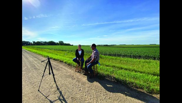 Soil health specialist Dawn Madison (left) interviews local cover crop expert Tom Fick for an upcoming virtual cover crop field day series.