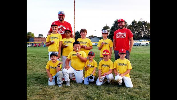 McClure Plumbing and Heating placed second in 2020 Luverne Community Education Minor League Baseball. Pictured are (front, left) James Waddington, Gavin Mead, Beck Walgrave, Ty Kopp, Krosby Sandbulte; (back) Maddox Schomacker, coach Jon Schomacker, Lucas Hein, Vaughn Sandbulte, Griffin Sailor and coach Tony Sandbulte.