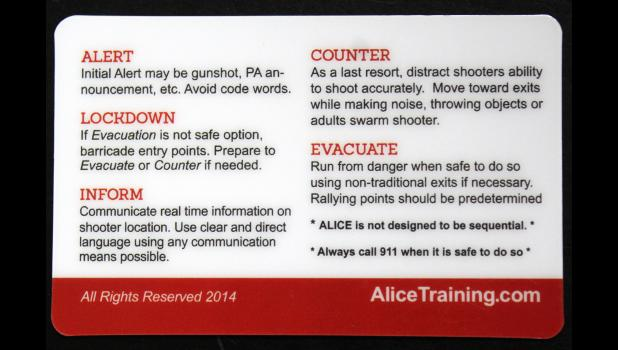 Initial ALICE training for Luverne Public School employees took place Monday and Tuesday in the American Reformed Church. ALICE training teaches participants proactive strategies that increase chances of survival during an active shooter event.