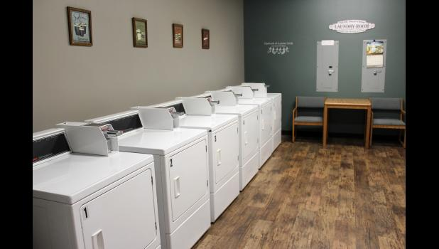 Laundry facilities are included on each floor in spaces where student bathrooms used to be located.