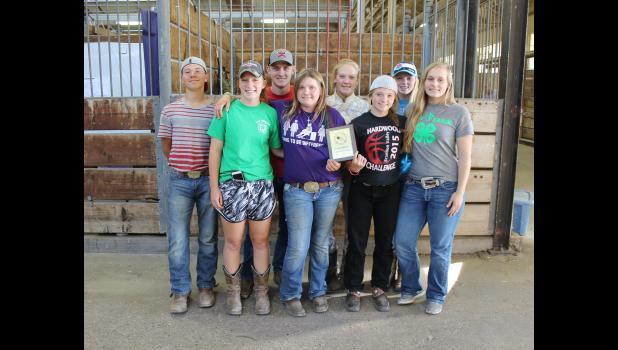 Rock County 4-H'ers topped dozens of counties in the recent herdsmanship contest at the Minnesota State 4-H Horse Show in St. Paul. Members include (front row, from left) Lizzie Chapa, Kellie VanDerBrink, Kennedy Safar, McKenna Westphal, (back) Ayden Bonnett, Adam Fodness, Joni Vander Beek and Kallie Chapa.