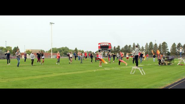 Luverne High School marching band members practice their 2020 field routine last week on the high school football field. The group will be the only band participating in this year's Tri-State Band Festival, which was canceled in August due to the coronavirus.
