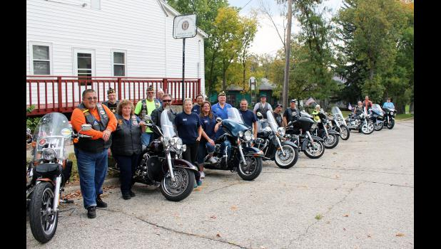 Eighteen Legion members from posts in Blue Earth, New Ulm, Hardwick and Pipestone met at the Arthur Moeller American Legion Post 478 in Hardwick Saturday afternoon. Hardwick or Pipestone will be the home post for the next Legion Riders, a group of motorcycle enthusiasts for Legion members, who conduct fundraisers to help various organizations. Pictured are (from left) Scott Phillips, Gene Ludtke, Melonie Phillips, Chuck Stone, Richard Skillstead, Randy Olson, Robin Olson, Jeremy Evans, Hope Paz, Mark Coney,
