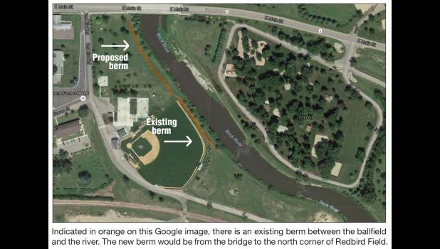 There is an existing berm between the ball field and the river. The new berm would be from the bridge to the north corner of Redbird Field