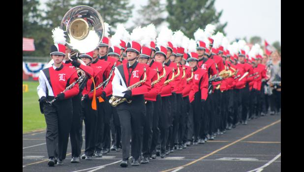 Luverne High School marching band takes the field in the 2018 Tri-State Band Festival