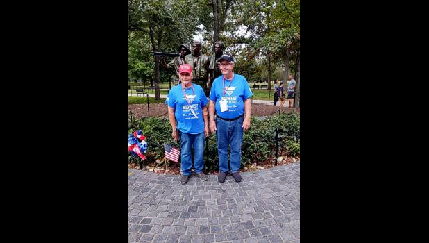 """Lon Remme (left) and Keith Schmuck, both of Luverne, recently participated in the Midwest Honor Flight to Washington, D.C., where the two Vietnam War veterans toured national war memorials including """"The Three Soldiers"""" memorial on the National Mall."""