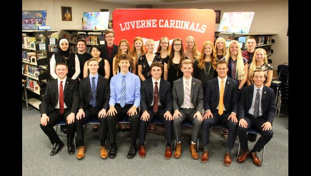 Luverne High School inducted 12 additional juniors and seniors to the National Honor Society Nov. 5 in the school media center. Members include (front, left) Gunnar Oldre, Andrew Wagner, Isaiah Bartels, Cade Wenninger, Graham Cunningham, Colby Crabtree, Jordan Winter, (middle) Dalwa Alinizi, Michelle Arevalo, Madigan Flom, Lauren Ver Steeg, Heather Huether, Claire Baustian, Regan Feit, Ainslie Robinson, (back) Meagan Hansen, Xavier Carbonneau, Tacey Baustian, Amelia Jarchow, Alexa Chesley, Nicole Hoogland a