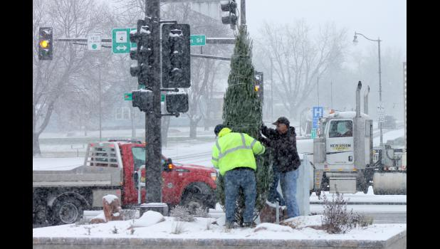 Eric Lammert (left) and Butch Hatting with the city of Luverne help hospice volunteer George Bonnema (behind tree) erect an evergreen tree in the flag park at the corner of Highway 75 and Main Street Friday morning as snow begins falling in the area.