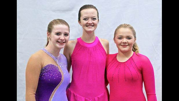 Skating debut Three members of the Blue Mound Figure Skating Club opened the 2017-18 season at the New Ulm Fall Festival Nov. 18-19. Hannah Henning (left), Riley Severtson (middle) and Kendall Buss (right) combined efforts to win eight event titles at the competition. The threesome scored enough points for the BMFSC to place fourth in a field of nine teams led by Sioux Falls.
