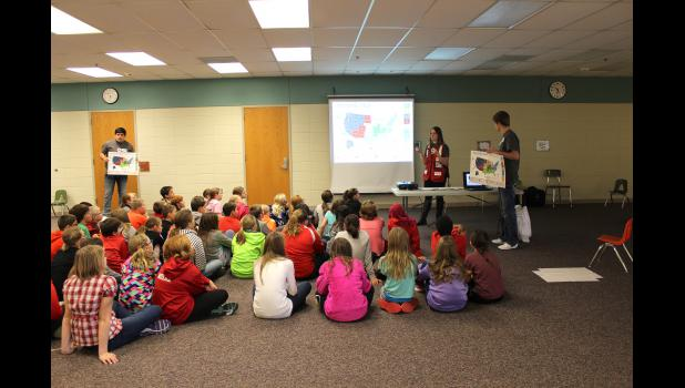 Morgan Sommers (center) with the American Red Cross in Mankato talks with Luverne Elementary fifth-graders about The Pillowcase Project. Assisting Sommers are Jonathan Gacke (left) and her brother, Joe Sommers (right).