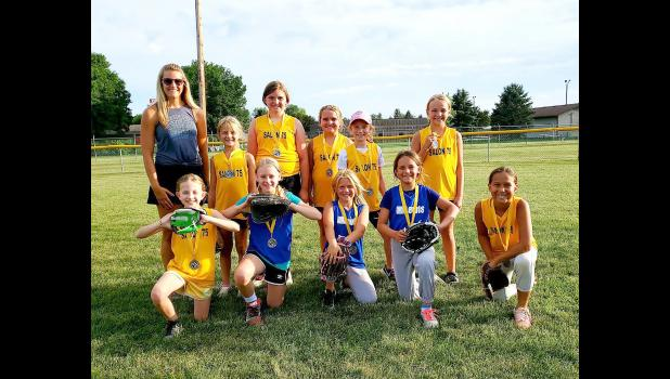 Salon 75 placed second in 2020 Luverne Community Education Minor League Softball. The team lost to Schomacker Cleaning 20-17 in the championship game. Players on the Lewis Drug team joined the two teams competing in the title game. Pictured are (front, left) Lydia Jarchow, Lucy Bose, Braylynn Altman, Sophia Nolz, Isley Smith; (back) coach Chelsey Wermager, Mya Wermager, Gracyn Woodley, Cheyanne Hoffenkamp, Summer Mollberg and Jaelyn Fick.