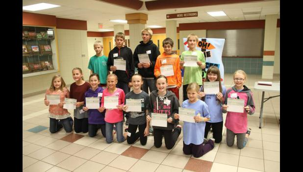 Earning Fantastic 15 awards at the 2015 Rock County 4-H Awards and Recognition Banquet were (front, left) Katharine Kelm, Elisabeth Kelm, Claire Popkes, Lanae Elbers, Leah Kruse, Karly Kruse, Ashlyn Johnson, Krista Burkman, Danette Leenderts, (back row) Sean Ehlers, Justin Mente, Jacob Raak, Hunter Sandbulte and Caleb Raak. Missing is Cassie Chesley.