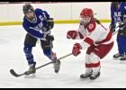 Luverne's Shelby Kracht challenges a pass off the stick of a Prairie Centre player during Saturday's game at the Blue Mound Ice Arena.