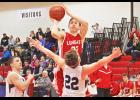 Luverne junior Nick Feit came off the bench to score seven points during Monday's 92-58 home win over HL-O.