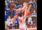 Luverne's Andrew Bierman draws contact from Adrian's Frank Serrao as the Cardinal drives to the basket during Tuesday's game in Luverne.