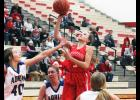 Luverne's Brooklynn Ver Steeg shoots over A-E defender Bailey Lonneman during Monday's game in Luverne.
