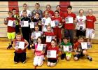 Free-throw champs Twenty-three individuals placed first or second in their age divisions at the 2016 Knights of Columbus Free-Throw Championship staged Jan. 24 in Luverne. They include (front row, from left) Zane Verba (second place, boys, age nine), Maria Rops (first place, girls, age nine), Kendra Thorson (second place, girls, age nine), Gavin Reisch (first place, boys, age 10), Landon Ahrendt (first place, boys, age nine); (second row) Emma Beyer (second place, girls, age 10), Elizabeth Wagner (first pla