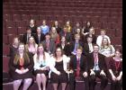 Luverne Speech Team members earned the first-place large team sweepstakes trophy Saturday at the 2015 Redwood Falls Invitational Speech meet. Members include (front row, from left) Kat Siebert, Ryleigh Beers, Emily Wendland, Derek Krueger, Paul Witte III, Hannah Hoogland; (second row) Nicole Hoogland, Courtney Wendland, Dylan Thorson, Samantha Ykema, Shane Berning, Gunnar Oldre, Mikayla Wiederhoeft; (third row) Cameron Wessels, Anika Gust, Jacinda Hustoft, Knute Oldre, Grace Sweeney, Sage VerSteeg, Jonah Lo