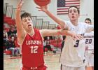 Luverne's Isaiah Bartels competes for a loose ball with Windom's Kobe Lovell during Saturday's game in Luverne.