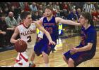 H-BC's Stuart Plimpton and Drew Forshey (right) pressure a Red Rock Central during Saturday's tournament game in Windom.