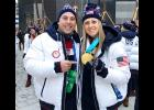 Phil Drobnick (left), coach of the U.S. Men's Curling Team, and Gisele (Gigi) Marvin (right), a member of the U.S. Women's Hockey Team, pose for a picture at the Winter Olympic Games in South Korea.