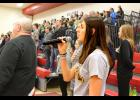 Gabi Ferrell demonstrated her arts talent Feb. 21 when she sang the national anthem a cappella to open the Luverne boys' basketball game against Pipestone.