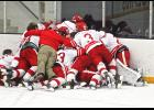 Members of the Luverne High School boys' hockey team form a pile in celebration of Wednesday's Section 3A championship in St. Peter.