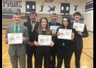 Cardinal Speech team members who competed in the final round of the Big South Conference meet and conference recognition include (from left) Derek Krueger, Knute Oldre (all-conference), Hannah Hoogland, Paul Witte III, Grace Sweeney and Dylan Thorson.