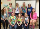 Luverne High School's Senior Leadership Group recently met for their last activity, tie-dying T-shirts and socks. Pictured in front are Melissa Tweet (sitting), Jenna Schelhaas, Tayler Hoogeveen, Susan Thompson, Brianna Jonason, (back) Freddi Stroeh, Sam Aanenson, Nicole Kneip and Madi Oye.