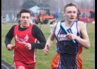 Brayden Tofteland helped the LHS boys win the 3,200-meter relay during the Cardinal Relays in Luverne Tuesday.