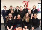 Luverne Speech Team wrapped up the Section 3A team trophy Saturday with 13 students contributing to the team score. They are (front, from left) Brianna Kinsinger, Roselynn Hartshorn, Rylee Anderson, Mia Wenzel, (second) Destiny Matthiesen, Xavier Carbonneau, Josie Golla, (back) Luke Thorson, Chance Tunnissen, Zander Carbonneau, Parker Carbonneau and Burke Johnson. Not pictured is Bethany Behr.