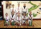 Luverne Tae Kwon Do Club members have experienced a hectic pace that includes competing at three events since March 12. Some of the participants include (front row, from left) Jerzey Hood, Gave Vis, Liam Brown, Zach Brown, Perceyis Trierweiler, (back) Zoe Brown, Russell Aanenson and Jason Aanenson. Missing is Tom Brown, Cody Henrichs and Nathan Lindsley.