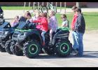 Max Skattum and Jack Baustian talk about ATV safety at their FFA Farm Safety station in the north parking lot of the Luverne school campus.