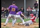 Courtesy runner Ryan Gonzalez can't cross home plate before being tagged out by a Pipestone A during Sunday's amateur baseball game in Luverne.
