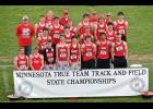 The Luverne boys placed seventh in a nine-team field at the Minnesota State Class A True Team Track and Field Championships in Stillwater Saturday. Team members include (front row, from left) Cyris Halverson, Matthew Hup, Jordy Thone, Austin Winter, Dalton DeSollar, Mitchell Muller, Trenton Rops, Jackson Winter, (second row), Payton Stemper, Brandon Winter, Tanner Wiese, Dylan Thorson, (third row) D.J. Reker, Eli Haugom, Drew Weis, Ethan Marshall, Logan Stratton, Jeremiah Dooyema, Griffin Ahrendt, (back) co
