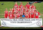 The Luverne girls placed third at the Minnesota State Class A True Team Track and Field Championships in Stillwater Saturday. Team members include (front row, from left) Gabrielle Ferrell, Madison Reisdorfer, Tayla Peterson, Kynzie Smedsrud, Naomi Dooyema, (second row) Hannah Ehlers, Mallory Thorson, Jaidyn Elbers, Sierra Schmuck, Joci Oye, C;laire Baustian, Courtney Siebenahler, Tianna Doppenberg, (third row) Kami Sawelle, Morgan Edwards, Bergin Flom, Mackenzie Petersen, Samantha Pierce, Sydney Biever, (ba