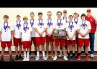 The Luverne tennis team captured its 10th consecutive Section 3A Team Tennis Tournament title May 21 in Redwood Falls. Members of the section squad include (from left) Colin Schoeneman, Elliott Stoltenberg, Blake Frahm, Graham Cunningham, Jordan Winter, Pierce Cunningham, Matt Jelken, Matt Sehr, Griffen Jarchow, Cole Stoltenberg, Carson Ehde and coach Greg Antoine.