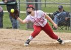 Luverne senior first baseman Ariel DeBeer prepares to register an out at the bag during a Section 3AA Tournament game against Jackson County Central in Pipestone May 24.