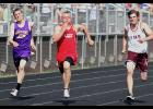 Luverne senior Jackson Winter pulls away from the pack to win the 100-meter dash during the Section 3A Track and Field Championships Thursday in Luverne.