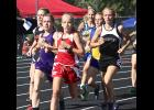 Luverne seventh-grader Regan Feit (middle) is one of seven Cardinal girls to earn a berth in state competition during Thursday's Section 3A Track and Field Championships in Redwood Falls.