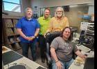 Luverne's KQAD and K101 are celebrating 50 years on the air in 2021. Pictured are (from left) KQAD morning show host Jay Kelly, general manager Joel Vis, K101 morning show host Rick Freitag, and Max Hodgdon, who is departing K101 for radio stations in Columbus, Nebraska.
