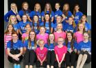 Thirty-six members of the Blue Mound Figure Skating Club combined efforts to place fourth out of 66 teams at the ISI World Team Championships staged July 25-30 at the Schwan's Super Rink in Blaine. Representing the BMFSC in Blaine at the event include (front row, from left) Emma Baker, Brooke Nattress, Mara Thier, Riley Severtson, Brylee Zebe, Lexie Severtson, Anisa Vanden Bosch, (second row) Grace Schneekloth, Emma Schneekloth, Rylee Kurtz, Marisa Thier, Augusta Papik, (third row) Kendall Buss, Alyssa Natt