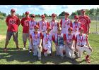 Luverne's 12 and Under Baseball Team compiled a 5-2 record and placed second at the Minnesota Sports Federation State Class AA Baseball Tournament in Sartell July 24-26. Team members include (front row, from left) Jamie Palmquist, Ben Jarchow, Hunter Baker, Ethan Beyer, John Miller, (back) coach Shane Palmquist, coach Jamie Beyer, Shaid Shearer, Cade Wenninger, Bailey Cowell, Jayson Rops, Riley Anderson and coach Dean Baker.
