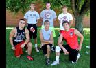 Erik Tofteland (back, right) won three event titles and the overall championship of the annual Cardinal Pride Competition. Other event winners include Matthew Ziegler (front, left), Tanner Wiese (front, middle), Mitchell Muller (front, right), Jeremiah Dooyema (back, left) and Logan Stratton (back middle). The LHS football team opens the season at home Aug. 22.