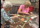 Linda McGinty (left) and Doreen Nicolaus team up for Luverne Community Education's first jigsaw puzzle tournament Wednesday morning, Aug. 9, in the Early Childhood Family Education parent room.