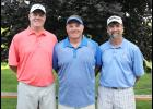Dan Serie (middle) rallied on Sunday to win the championship flight of the Luverne Country Club Men's Club Tournament for the 10th time in his career. Chris Nowatzki (right) and Mark Iveland (left) placed second and third respectively.